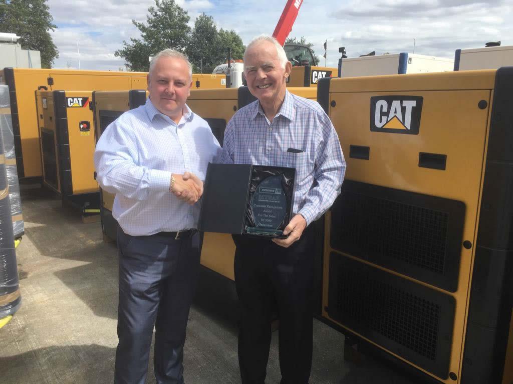 The Myrak Team receives award from Finning to celebrate sale of over 3000 Caterpillar generators