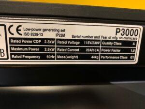 2.75kVA Atlas Copco Petrol Generator 240V