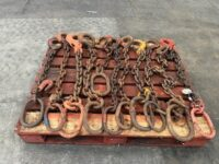 USED PALLET OF 10 x ONE LEG LIFTING CHAINS APPROX 1M LONG 2TONNE – 6 TONNE